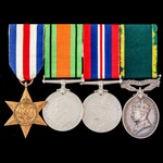 Second World War late North West Europe campaign and Territorial long service group awarded to Bo...