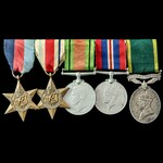 Second World War North Africa campaign Territorial long service group awarded to Private W. Willi...