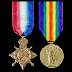 1914-1915 Star and Victory Medal pair awarded to Private E.M. Macaulay, 2nd/4th Battalion, Royal ...
