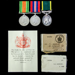 Second World War Home Service and Territorial long service group awarded to Sergeant T.S. Sainsbu...