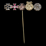 Germany – Imperial: Stick Pin Miniature Group of 5, comprising; Iron Cross 1914; Hamburg Hanseati...