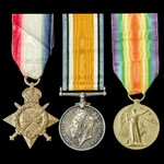 Great War Western Front November 1915 casualty 1914-1915 trio awarded to Lance Corporal H. Mannin...