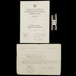 Germany – Third Reich: A 1939 Bar to the 1914 Iron Cross 2nd Class along with its accompanying aw...