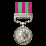 India General Service Medal 1895-1902, 1 Clasp: Punjab Frontier 1897-98, awarded to Private J. Au...