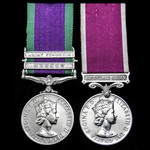 A Campaign Service Medal with clasps for Borneo and Malay Peninsular, and E.II.R. Army Long Servi...