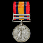 Queen's South Africa Medal 1899-1902, with ghost dates, 2 Clasps: Talana, Defence of Ladysmith, a...
