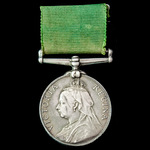 Volunteer Force Long Service Medal, Victoria Regina bust, engraved naming, awarded to Private W. ...