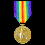 Victory Medal awarded to Private R.B. Mills, 9th Service Battalion, Gloucestershire Regiment, who...
