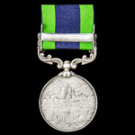 India General Service Medal 1908-1935, 1 Clasp: Waziristan 1919-21, awarded to Private D.E. Danie...
