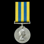 A Korea Medal 1950-1953, 1st type obverse, awarded to Trooper E. Sharlotte, Royal Tanks, who saw ...