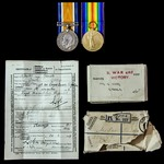 Great War pair awarded to Private G. Smith, 9th Service Battalion, Royal Sussex Regiment, who saw...