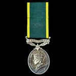 Efficiency Medal, GVI 1st type bust, Territorial suspension, awarded to Gunner W.T. Rees, Royal A...