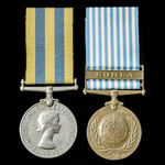 A Korea Medal pair awarded to Private R. Waddup, King's Shropshire Light Infantry, who saw servic...