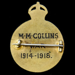 Great War London Telephone Service Badge for Air Raids, awarded to M.M. Collins, a female telepho...