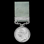 Army of India Medal 1793-1826, short hyphen reverse, 1 Clasp: Bhurtpoor, officially impressed nam...