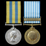 A Korean War Medal pair awarded to Private G. Light, 1st Middlesex Regiment, whose battalion saw ...