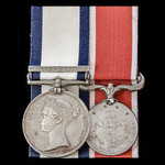 The fine Syria 1840 operations pair awarded to Carpenter Thomas Barnard, Royal Navy, who original...