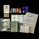 Second World War Atlantic and Mediterranean Mine Sweeping and cruiser operations group awarded to...
