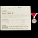 Germany – Third Reich. A Small Silver Bravery Medal of the Poglavnik with the Recommendation for ...