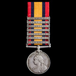 The superb and rare Queen's South Africa Medal 1899-1902, faint ghost dates to reverse, 7 Clasps:...