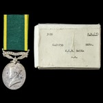 Efficiency Medal, GVI 1st type bust, Territorial suspension, with original named card box of issu...