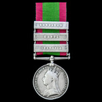 Afghanistan Medal 1878-1880, 3 Clasps: Charasia, Kabul, Kandahar, awarded to Private James Wilson...