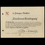 Germany – Third Reich: A Rare 6th Panzer Divisional Commendation to Unteroffizier Kirchhoff, 7th ...