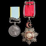 Crimean War Siege of Sebastopol Royal Marine Brigade 'official impressed ' officer's Crimea Medal...