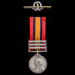 A Queen's South Africa Medal 1899-1902, 3 Clasps: Orange Free State, Transvaal, Laing's Nek, awar...