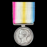The regimentally important Scinde Medal 1843, with reverse for Meeanee and Hyderabad, fitted with...