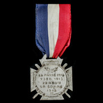  France: Charity Insignia, Day of the Common Soldier 1916 with reverse for La Marne 1914, Yser ...