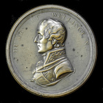 ​  British Battles of the Peninsula War 1815 Copper Box Medal, bearing on the obverse the bust of...