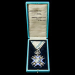 Kingdom of Serbia: Order of Saint Sava, 5th Class, Knight, Silver and enamels, Saint with Green r...