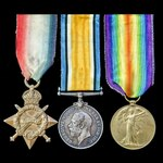 Great War 1914-1915 trio awarded to Private G.H. James, Wiltshire Regiment, later Labour Corps, w...