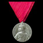 Serbia: Milos Obilic Medal, Silver grade, silver-washed white metal, on trifold ribbon.