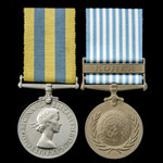A Korea Medal pair awarded to Private R. Wilson, Royal Scots, who saw service in Korea during the...