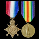 1914-1915 Star and Victory Medal pair awarded to Private D.J. Warner, Gloucestershire Regiment wh...