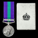 General Service Medal 1918-1962, GVI 1st type bust, 1 Clasp: Palestine 1945-48, with named card b...