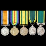 Great War Territorial Force War Medal, and double long service Territorial Efficiency Medal and E...