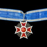 Romania: Order of the Crown, Commander's neck badge, 1881-1932, with full length ribbon, in white...