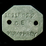 A British Army Identity Disc of 1950's period stamped to: '19118922 CE HUMPHREY'.