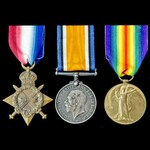 Great War Western Front Spring 1918 casualty trio awarded to Private A.E. Mardel, 2nd Battalion, ...