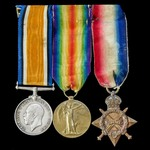 Great War 1914-15 trio awarded to Private A.E. Hachford, South Staffordshire Regiment, later Linc...