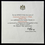 A Second World War Middle East Operations Mention in Despatches Award Certificate award to Lieute...