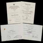 Germany - Third Reich. An unusual group of 4 award documents including both the Krim and Kuban Sh...