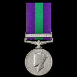 General Service Medal 1918-1962, GVI 1st type bust, 1 Clasp: Palestine, awarded to Private F.A. B...
