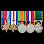 Second World War North West Europe and Territorial long service group awarded to Colour Sergeant ...