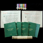 Second World War Bomber Command Halifax bomber pilot's Distinguished Flying Cross and log book gr...
