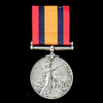  A Queen's South Africa Medal 1899-1902, no clasp, awarded to Trooper F.J. Nicholson, East Lond...