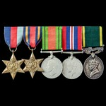 Second World War Burma campaign Territorial long service group awarded to Bombardier A.S. Collier...